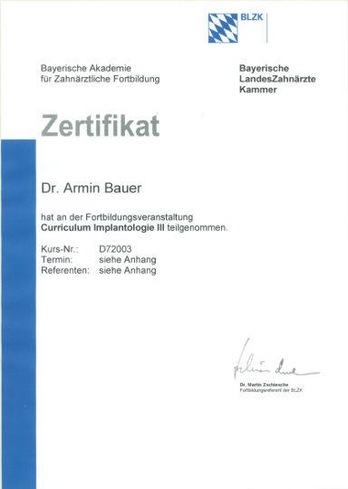 Zertifikat Zahnarzt Dr. Bauer. Passau