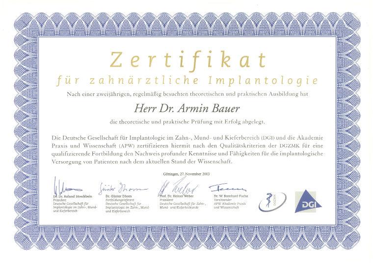 Zertifikat Zahnarzt Dr. Bauer